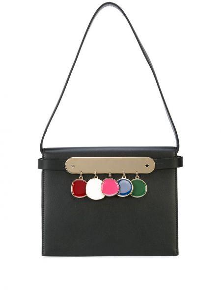 Кожаная черная кожаная сумка Edie Parker