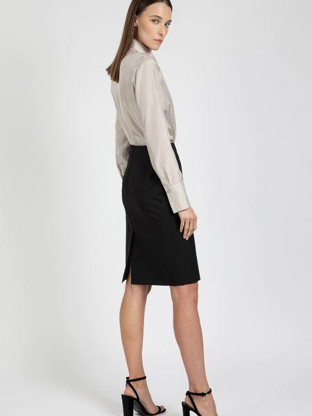 Черная классическая юбка карандаш с рукавом 3/4 из вискозы Vassa&co