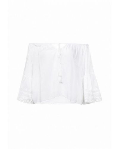 Ватная хлопковая белая блузка с открытыми плечами с открытыми плечами Fresh Cotton