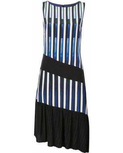 Платье миди в полоску - синее Nicole Miller