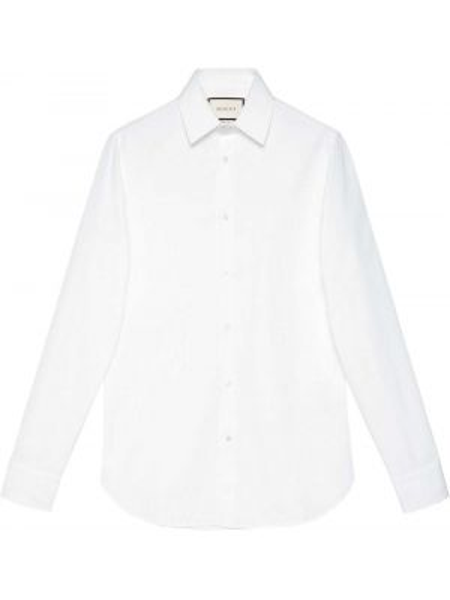 Biała klasyczna koszula bawełniana z długimi rękawami Gucci