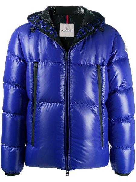 Puchaty klasyczny niebieski kurtka z kapturem z kieszeniami Moncler