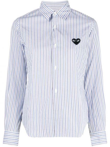 Klasyczny niebieski klasyczna koszula z kołnierzem z łatami Comme Des Garcons Play