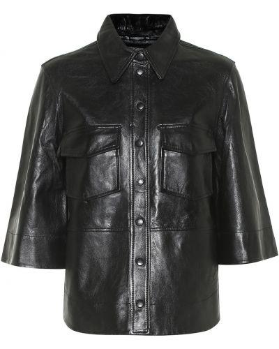 Кожаная черная рубашка Ganni
