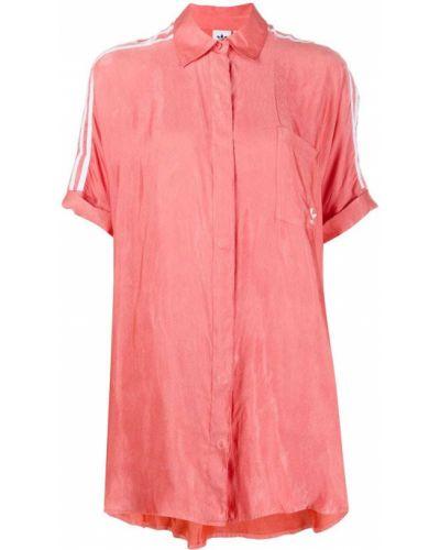 Розовое классическое платье мини на пуговицах с воротником Adidas