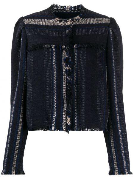 Черный удлиненный пиджак твидовый с вырезом Isabel Marant étoile