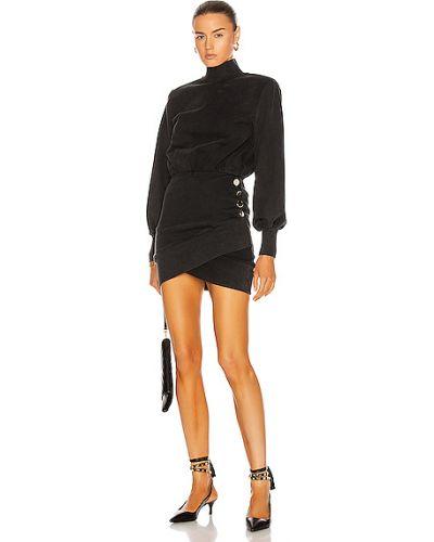 Czarna sukienka na imprezę koronkowa sznurowana Retrofete