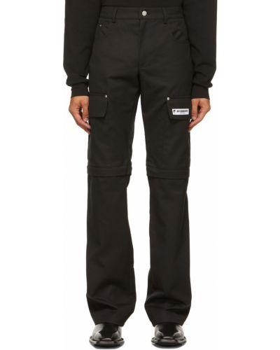 Czarne spodnie z paskiem bawełniane Misbhv