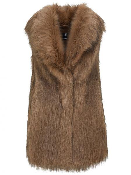 Brązowa kamizelka bez rękawów z akrylu Unreal Fur
