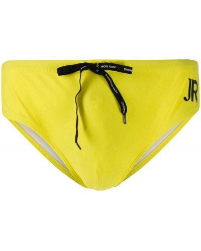 Ze sznurkiem do ściągania żółty kąpielówki John Richmond