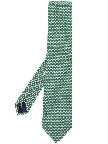 Zielony parasol z jedwabiu szmaragd Salvatore Ferragamo