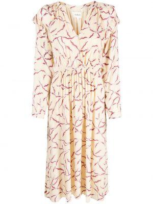 Платье миди с длинными рукавами - белое Ba&sh