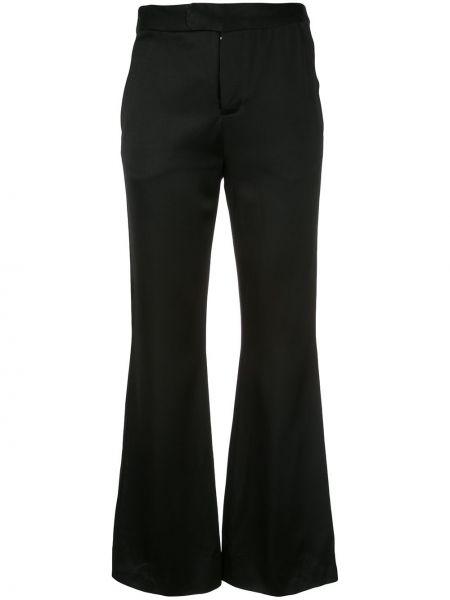 Черные расклешенные укороченные брюки с поясом Josie Natori