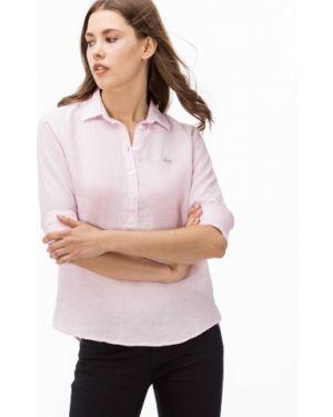 Рубашка льняная свободного кроя Lacoste
