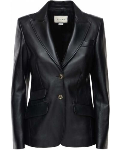 Кожаный пиджак с карманами на пуговицах Gucci