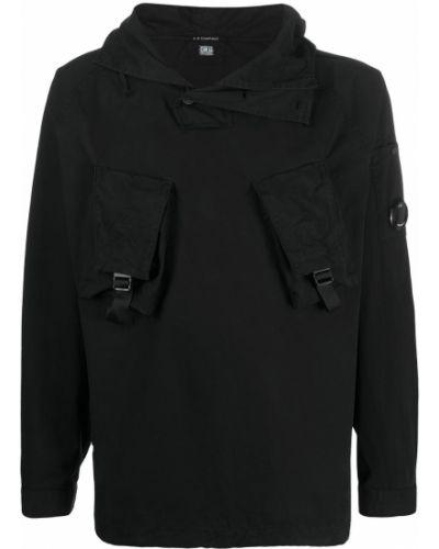 Bawełna prosto czarny anorak kurtka z kapturem C.p. Company