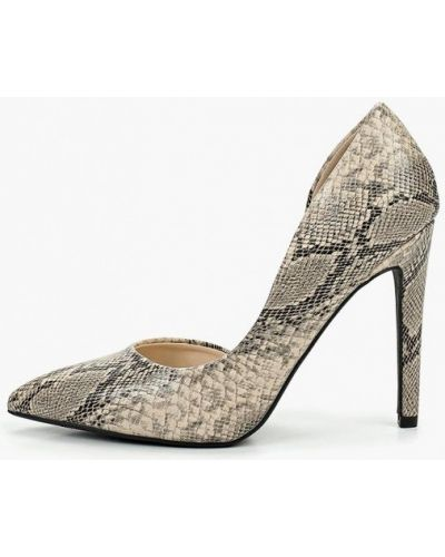 Туфли на каблуке кожаные бежевый Coco Perla