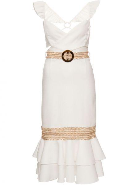 Белое платье миди с V-образным вырезом с оборками без рукавов Patbo