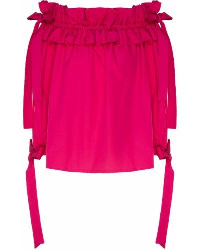 Блузка с открытыми плечами розовая с бантом Sara Roka