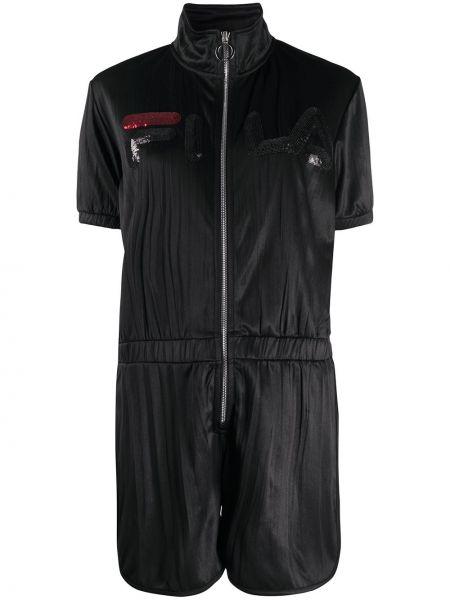 Комбинезон с шортами черный с завышенной талией Fila
