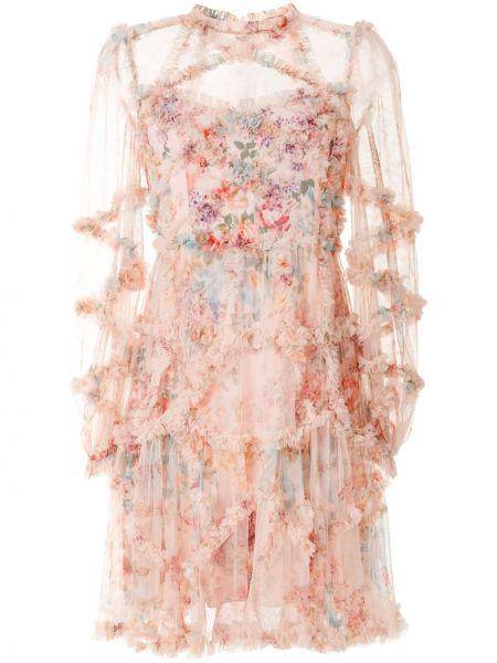 Нейлоновое розовое платье мини с длинными рукавами с топазом Needle & Thread