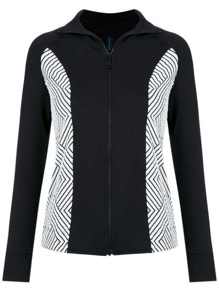 Приталенная черная длинная куртка с воротником Lygia & Nanny