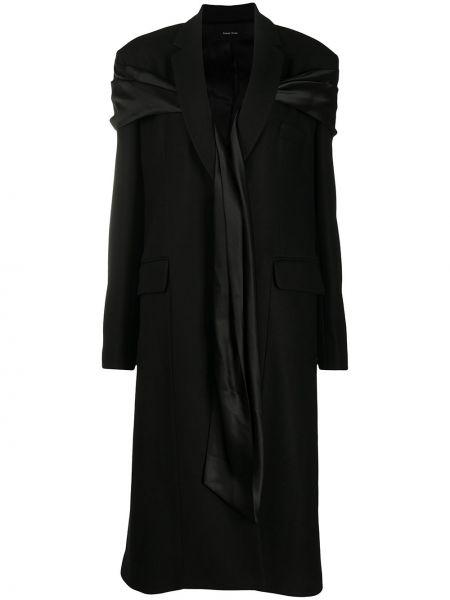 Czarny płaszcz wełniany z długimi rękawami Simone Rocha