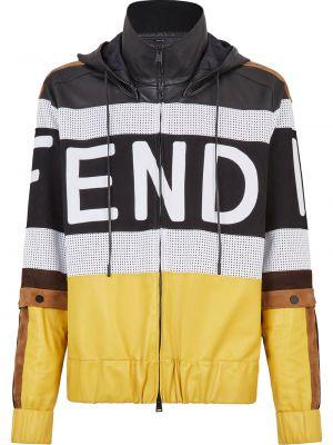 Кожаная куртка с капюшоном - черная Fendi