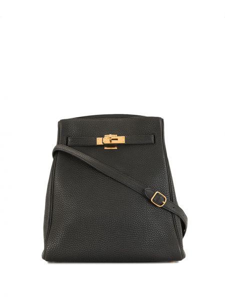Черная сумка с логотипом металлическая винтажная Hermès
