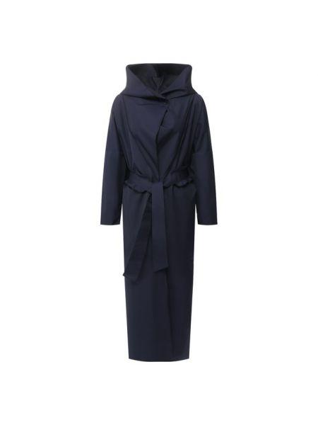 Приталенный прямой темно-синий плащ с поясом Giorgio Armani