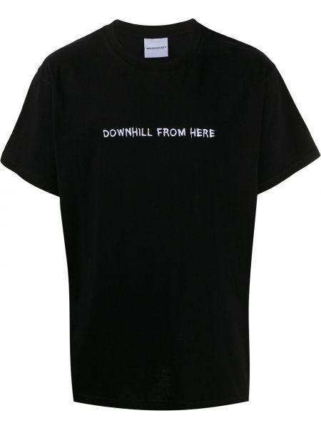 Свободная черная рубашка с коротким рукавом с вышивкой с лебяжьим пухом Nasaseasons