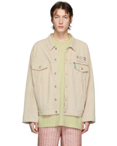 Zamsz biały długa kurtka z mankietami z kieszeniami Off-white