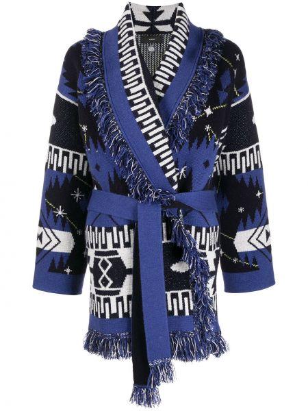 Синее кашемировое пальто с вырезом Alanui