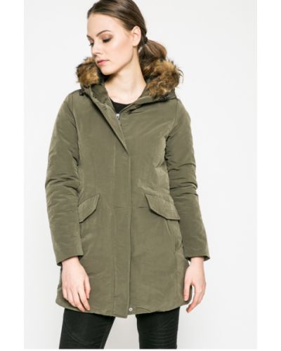 Утепленная куртка с капюшоном милитари с мехом Geox