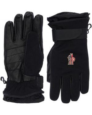 Czarne rękawiczki z wiskozy z haftem Moncler Genius