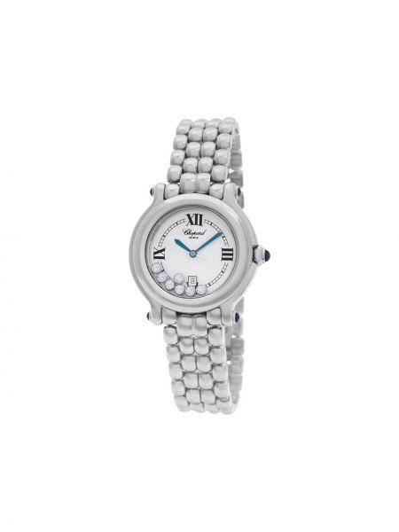 Спортивные белые часы спортивные круглые с бриллиантом Chopard