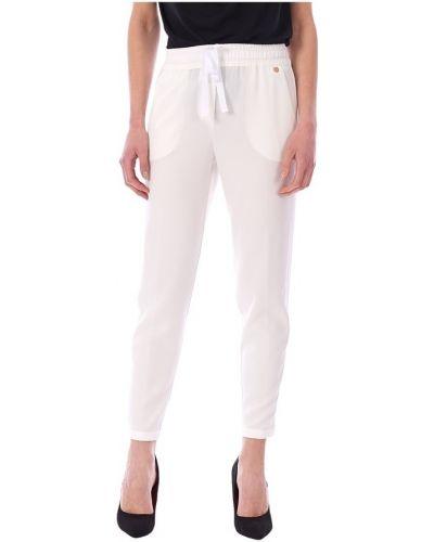 Satynowe białe spodnie eleganckie Luckylu
