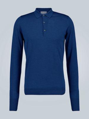 Синяя облегченная рубашка с манжетами с воротником John Smedley