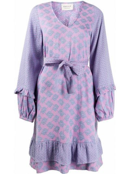 Хлопковое фиолетовое платье с V-образным вырезом с оборками Cecilie Copenhagen