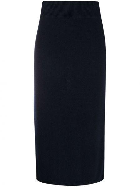 Синяя с завышенной талией юбка с разрезом в рубчик N.peal