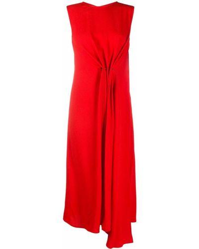 Красное платье миди без рукавов с вырезом на молнии Victoria Beckham