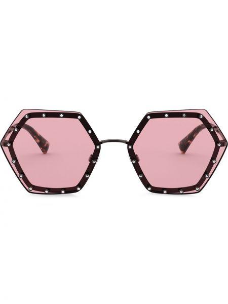Розовые солнцезащитные очки металлические Valentino Eyewear
