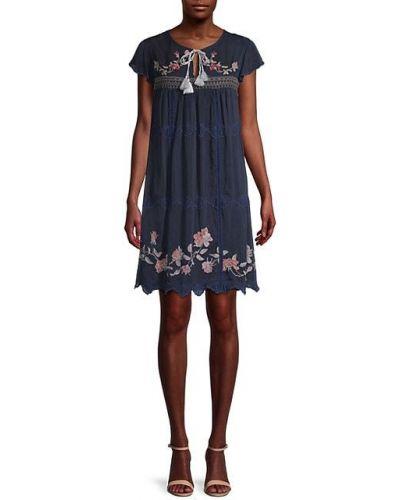 Sukienka mini krótki rękaw z haftem bawełniana Johnny Was