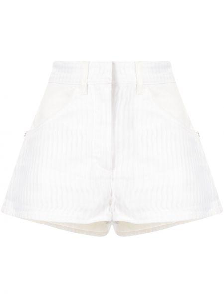 Хлопковые белые джинсовые шорты в полоску Chanel Pre-owned