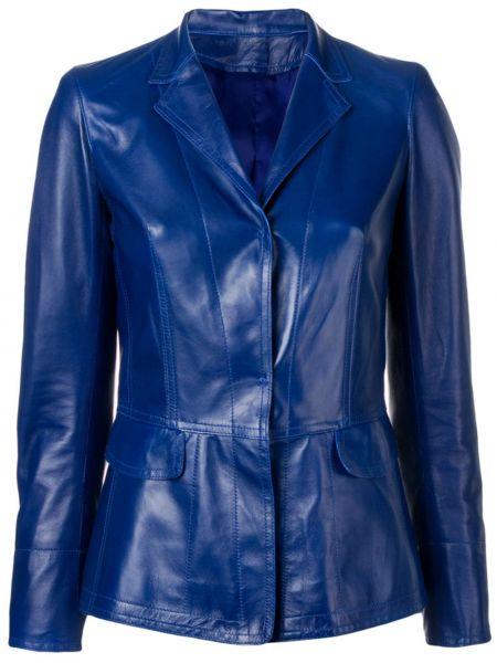 Приталенный синий кожаный пиджак Sylvie Schimmel