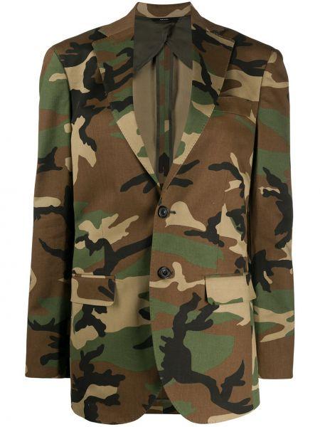 Зеленый пиджак с карманами на пуговицах R13