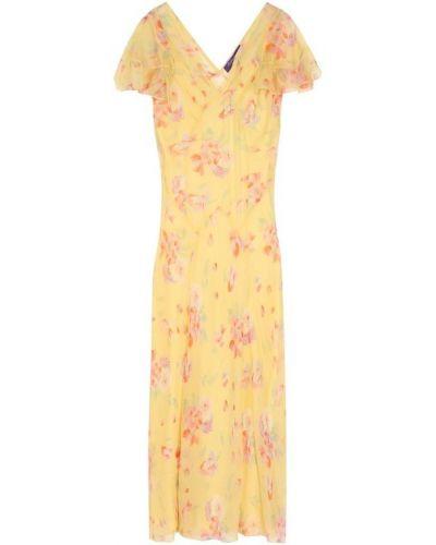 Платье миди с цветочным принтом с V-образным вырезом Ralph Lauren