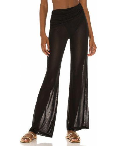Czarne spodnie z siateczką z nylonu Camila Coelho