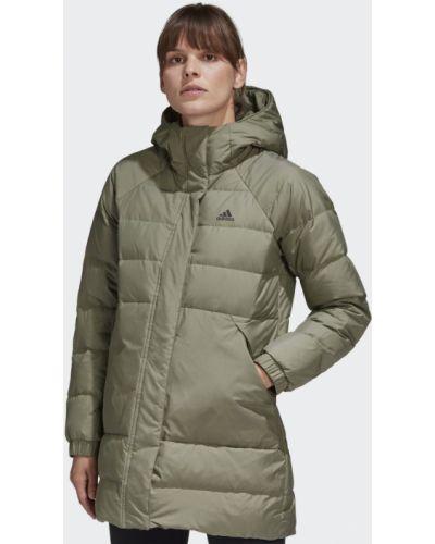 Черная длинная куртка с карманами Adidas