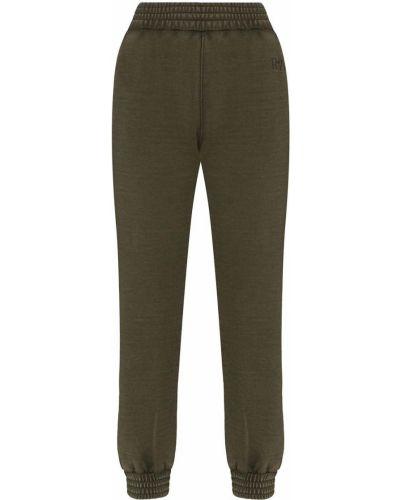 Zielone spodnie bawełniane z haftem Rta